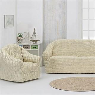 NATURAL Комплект чехлов на диван и 2 кресла сливочный