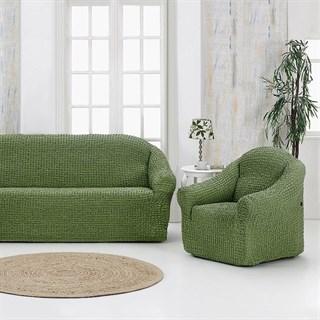 GREEN Комплект чехлов на диван и 2 кресла зеленый