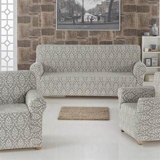 Комплект чехлов Milano Natural на 3-х мест. диван и 2 кресла крем-графит