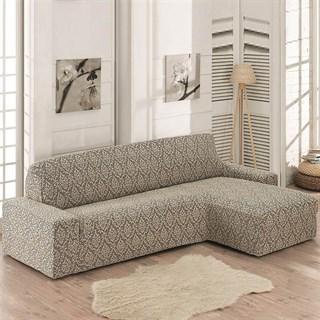 MILANO BEIGE Чехол на угловой диван с выступом справа бежевый