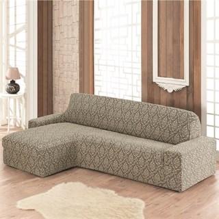 MILANO BEIGE Чехол на угловой диван с выступом слева бежевый