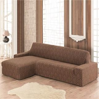 MILANO BRAUN Чехол на угловой диван с выступом слева коричневый