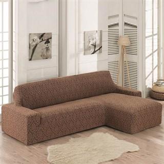 MILANO BRAUN Чехол на угловой диван с выступом справа коричневый