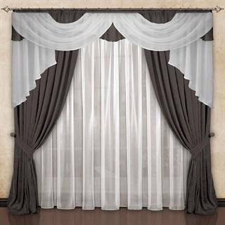 Готовые шторы с вуалью Элеонора серо-коричневые