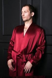 Мужской шелковый халат Luxe Dream винный XXXL