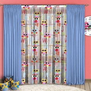 Детские шторы с органзой Совушки голубые