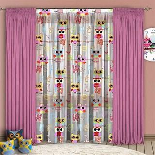 Детские шторы с органзой Совушки розовые