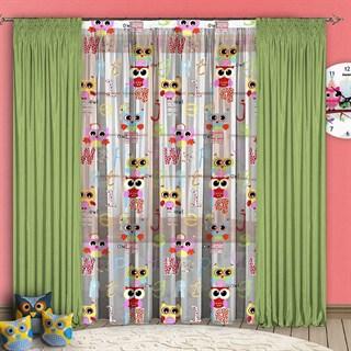 Детские шторы с органзой Совушки зеленые