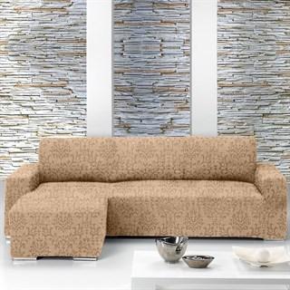 БОГЕМИЯ БЕЖ Чехол на угловой диван с выступом слева