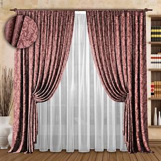 Жаккардовые шторы с вуалью Эдита брусника