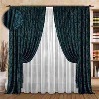 Жаккардовые шторы с вуалью Эдита мурена