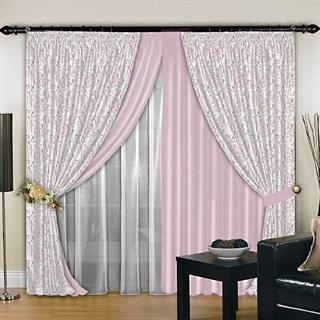 Комбинированные шторы Венера Эксклюзив розовые