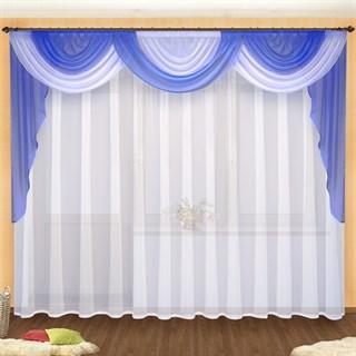 Легкие шторы Ангелина с ламбрекеном голубые