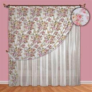 Асимметричные шторы Шебби сиренево-розовые