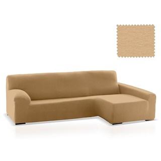 ТЕЙДЕ БЕЖ Чехол на угловой диван с оттоманкой и длинным подлокотником справа