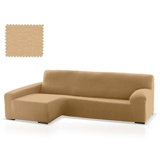 ТЕЙДЕ БЕЖ Чехол на угловой диван с оттоманкой и длинным подлокотником слева
