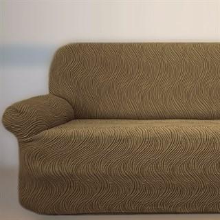 ВОЛНЫ КАПУЧЧИНО Универсальный чехол на классический угловой диван от 400 до 550 см