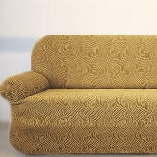 ВОЛНЫ БЕЖ Универсальный чехол на классический угловой диван от 400 до 550 см