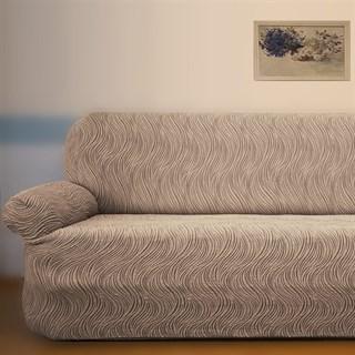 ВОЛНЫ ГРИС Универсальный чехол на классический угловой диван от 400 до 550 см