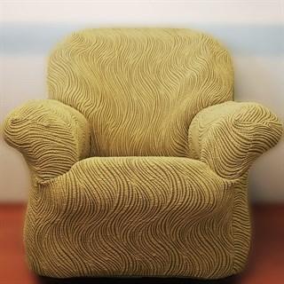 ВОЛНЫ БЕЖ Чехол на кресло от 70 до 110 см