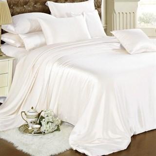 Шелковое постельное белье White евро