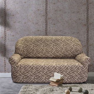 ГРЕЦИЯ БЕЖ Чехол на 2-х местный диван от 130 до 170 см
