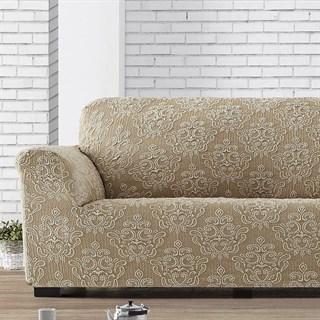 ЛЮКС-1 БЕЖ Чехол на 2-х местный диван от 120 до 170 см