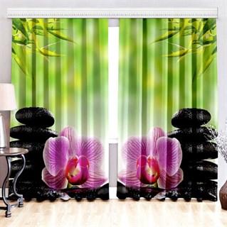 Фотошторы 3D Орхидея на камнях