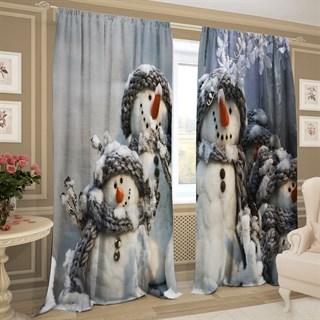 Фотошторы 3D Семейка снеговиков