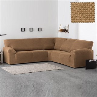 АЛЯСКА БЕЖ Чехол на классический угловой диван от 270 до 480 см универсальный