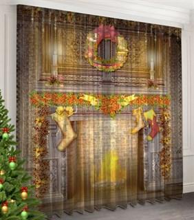 Фототюль 3D Рождественский камин