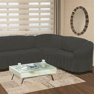 DARK GREY Чехол на классический угловой диван от 350 до 470 см правосторонний графит