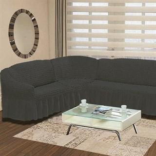 DARK GREY Чехол на классический угловой диван от 350 до 470 см левосторонний графит