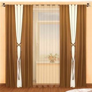 Готовые шторы Аманда Шоколад с тюлем