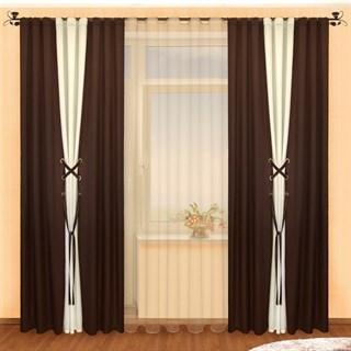 Готовые шторы Аманда Венге с тюлем