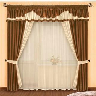 Готовые шторы Луара Шоколад с тюлем