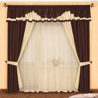 Готовые шторы Луара Венге с тюлем