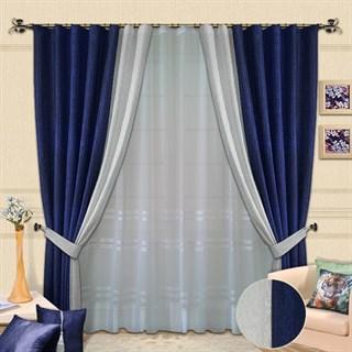 Готовые шторы с вуалью Афина синие