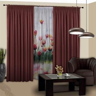 Готовые шторы с тюлем Блэкки Тюльпаны бордовые