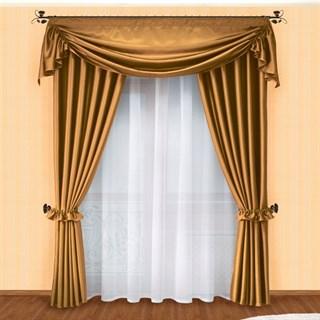 Готовые шторы с вуалью Маргарита темное золото