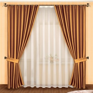 Готовые шторы с вуалью Луиза шоколад