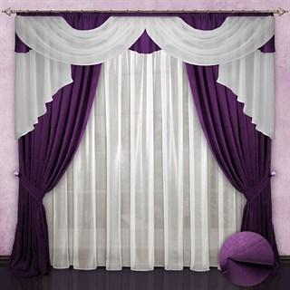 Готовые шторы с вуалью Элеонора violet