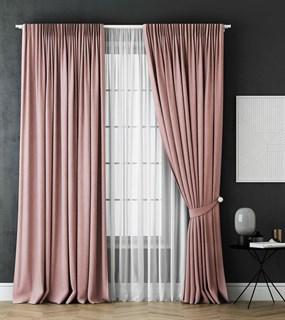 Комплект штор Pasionaria Каспиан розовый (шир. 240) с вуалью и подхватами