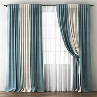 Комплект штор Pasionaria Кирстен голубой/кремовый (шир. 240) с вуалью и подхватами