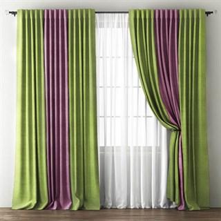 Комплект штор Pasionaria Кирстен зеленый/фиолетовый (шир. 240) с вуалью и подхватами
