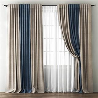 Комплект штор Pasionaria Кирстен бежево-коричневый/синий (шир. 240) с вуалью и подхватами