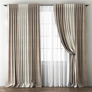 Комплект штор Pasionaria Кирстен бежево-коричневый/кремовый (шир. 240) с вуалью и подхватами