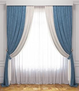 Комплект штор Pasionaria Латур белый/голубой (шир. 240) с вуалью и подхватами