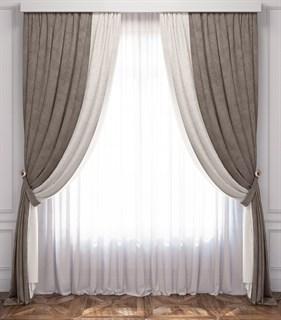 Комплект штор Pasionaria Латур белый/серый (шир. 170) с вуалью и подхватами