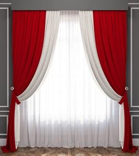 Комплект штор Pasionaria Латур красный/белый (шир. 240) с вуалью и подхватами